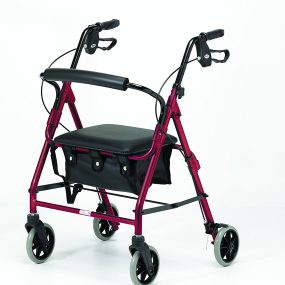 Days 105 Four Wheel Rollator with Bag (medium) – Ruby Red
